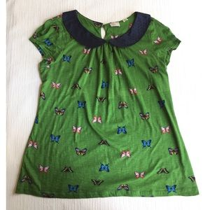 Anthropologie Postmark Butterfly Tee with Collar-L